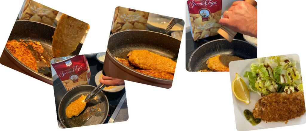 montage socca chips poulets panés