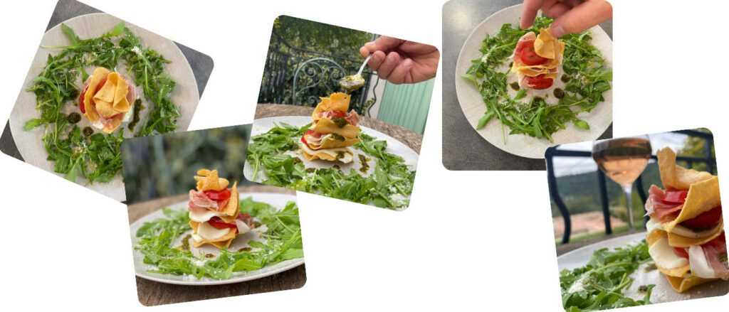 montage millefeuille socca chips